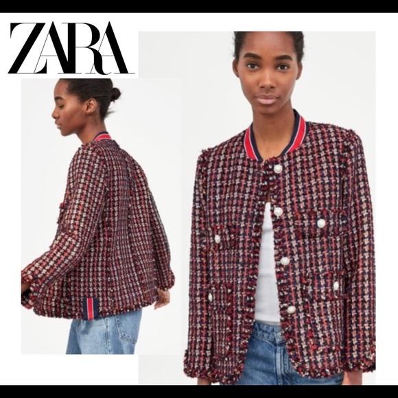 Zara Red Blue Tweed Blazer Faux Pearl Buttons Sz M